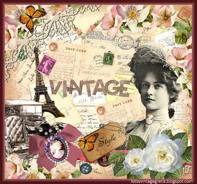 collage vintage con tarjetas postales, dama victoriana, coche antiguo y Torre Eiffel