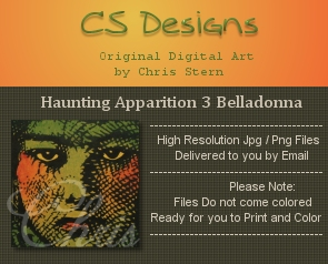 Haunting Halloween Dark Gothic Digital Stamp