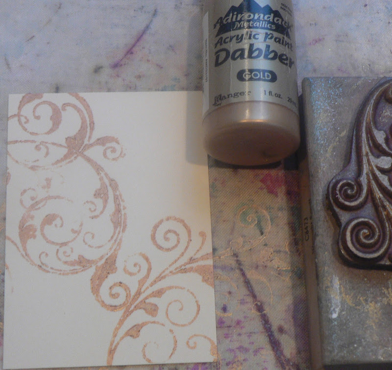 Used blending tool to apply Distress Inks over entire card. Stamped  title=