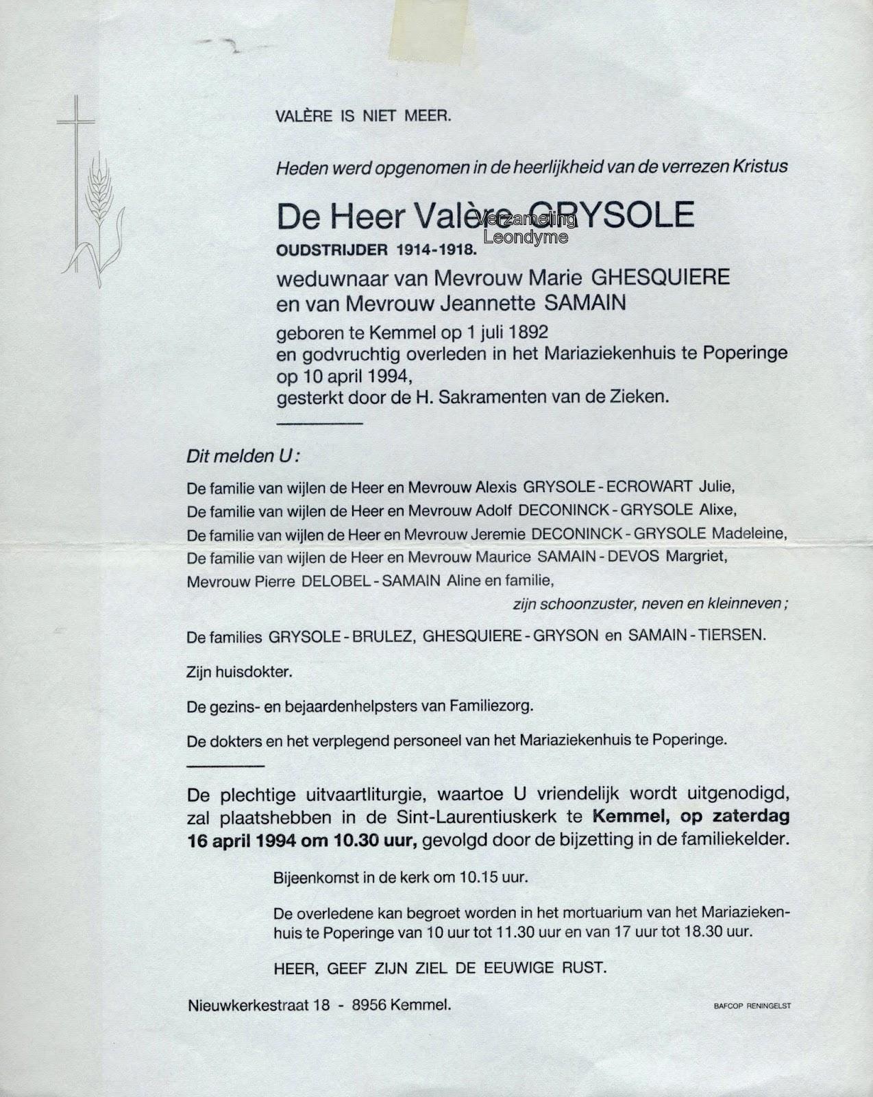 Rouwbrief, Valère Grysole 1892-1994. Verzameling Leondyme.