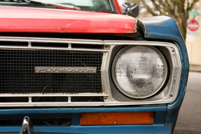 1967 Plymouth Valiant headlight and grill detail