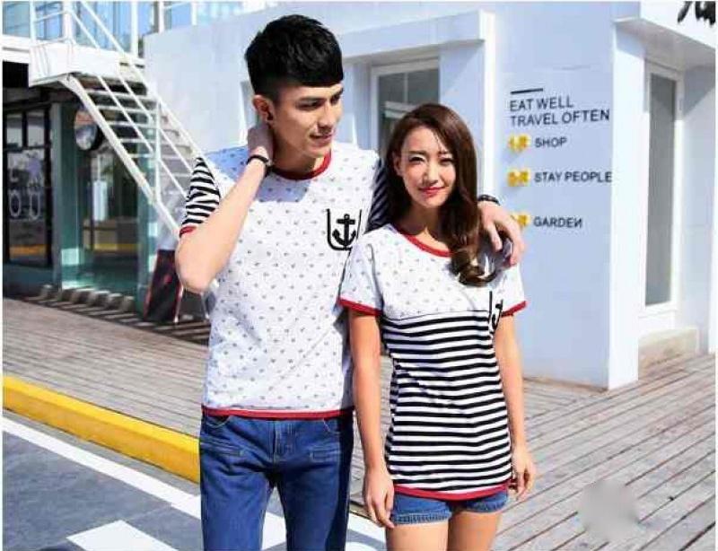 Jual Kaos Couple Sailor Pocket Murah Jakarta Bahan Combed Warna Putih Keren