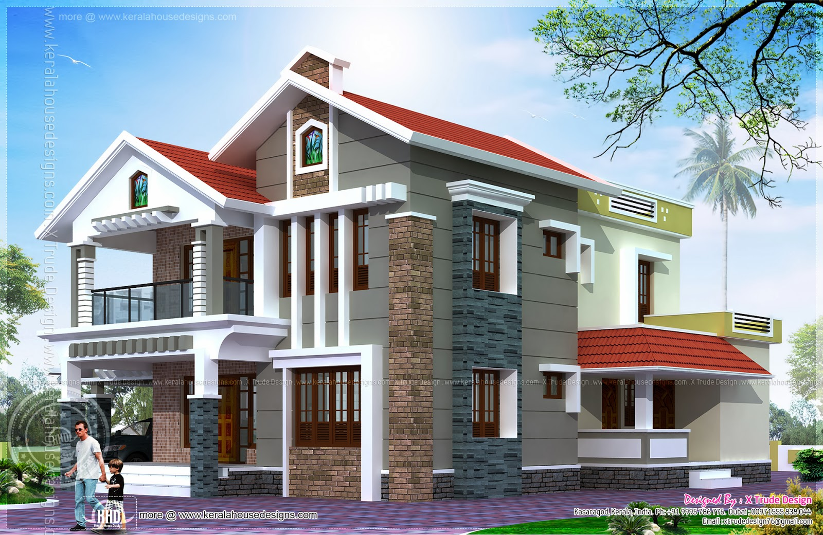 Front Elevation House Dubai : Square feet luxury villa exterior indian house plans
