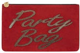 Dorothy Perkins party bag, purse with words, holiday party bag, cheap holiday clutch, affordable handbag clutch, Dodorthy Perkins red clutch