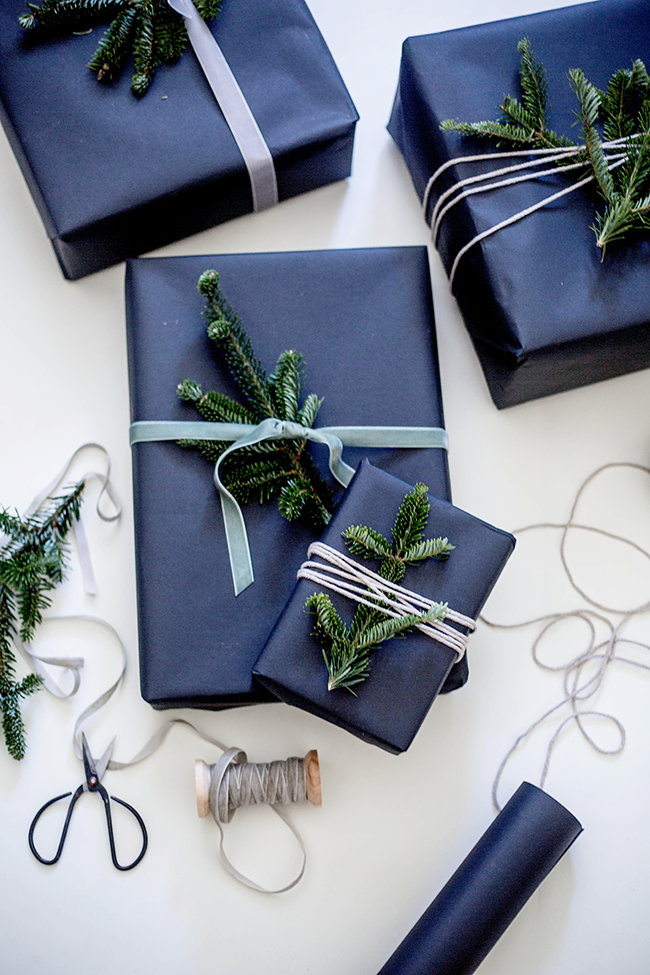 Wildflowers blog gift wrapping with fresh pine for Paper christmas gifts