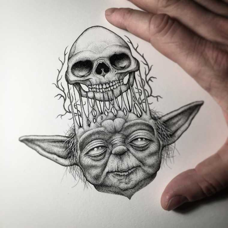 07-Star-Wars-Master-Jedi-Yoda-Paul-Jackson-Star-Wars-Miniature-Drawings-www-designstack-co