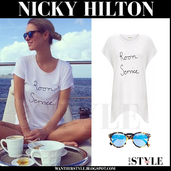 Nicky Hilton in white room service t-shirt and illesteva sunglasses on a yacht what she wore holiday