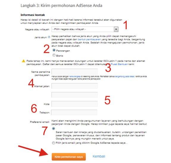 Cara Daftar Google Adsense dari Blogspot/Blogger