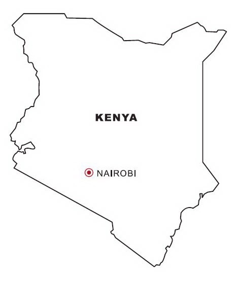 Map of Kenya to color | COLOR AREA