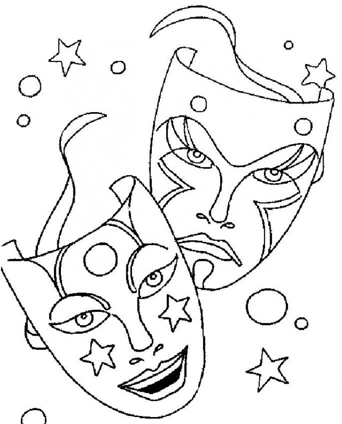 Dibujos Para Colorear Pintar Caretas De Carnaval
