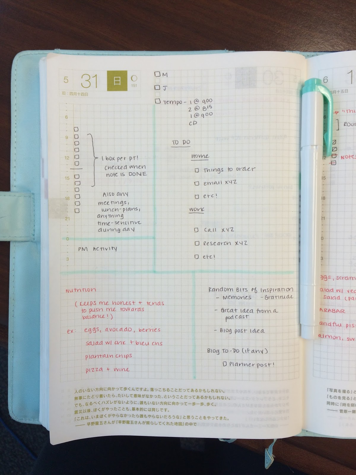 hobonichi planner  daily template