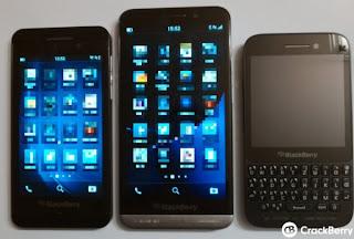 BlackBerry A10 - BlackBerry Z30 placed next duo BlackBerry Z10 and BlackBerry Q5