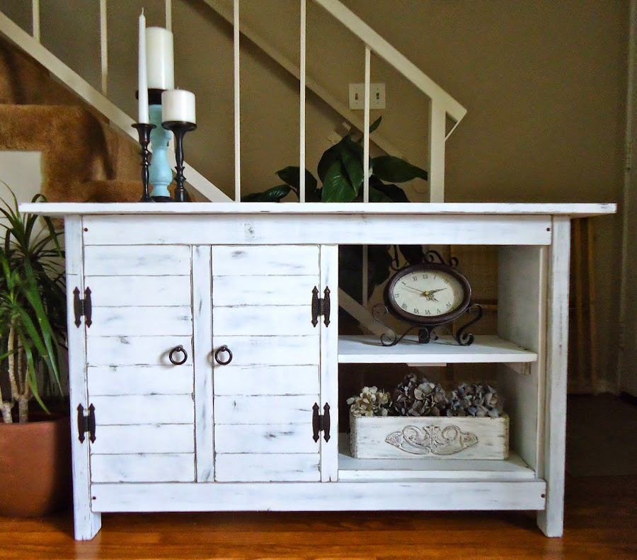Media Console in Distressed White