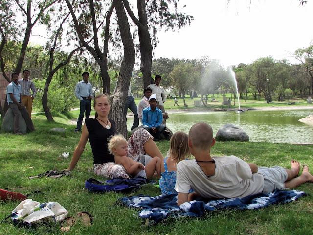на парковых газонах в Дели можно полежать