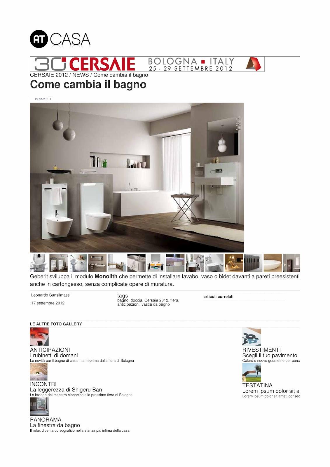 Rassegna stampa geberit settembre 2012 for Corriere della sera casa