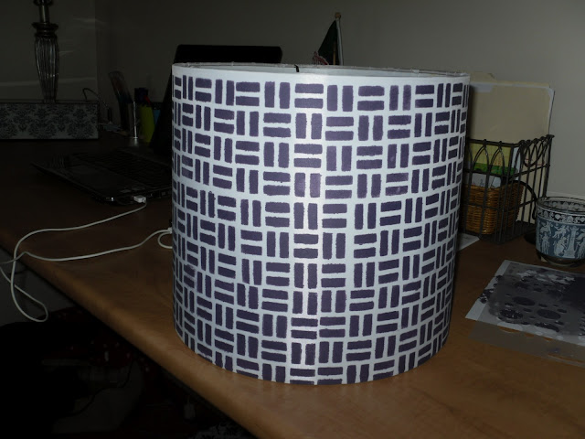Finished stenciled lamp shade