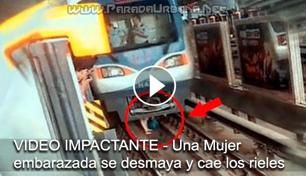 VIDEO IMPACTANTE - Una Mujer embarazada se desmaya y cae a vías del metro y milagrosamente sobrevive