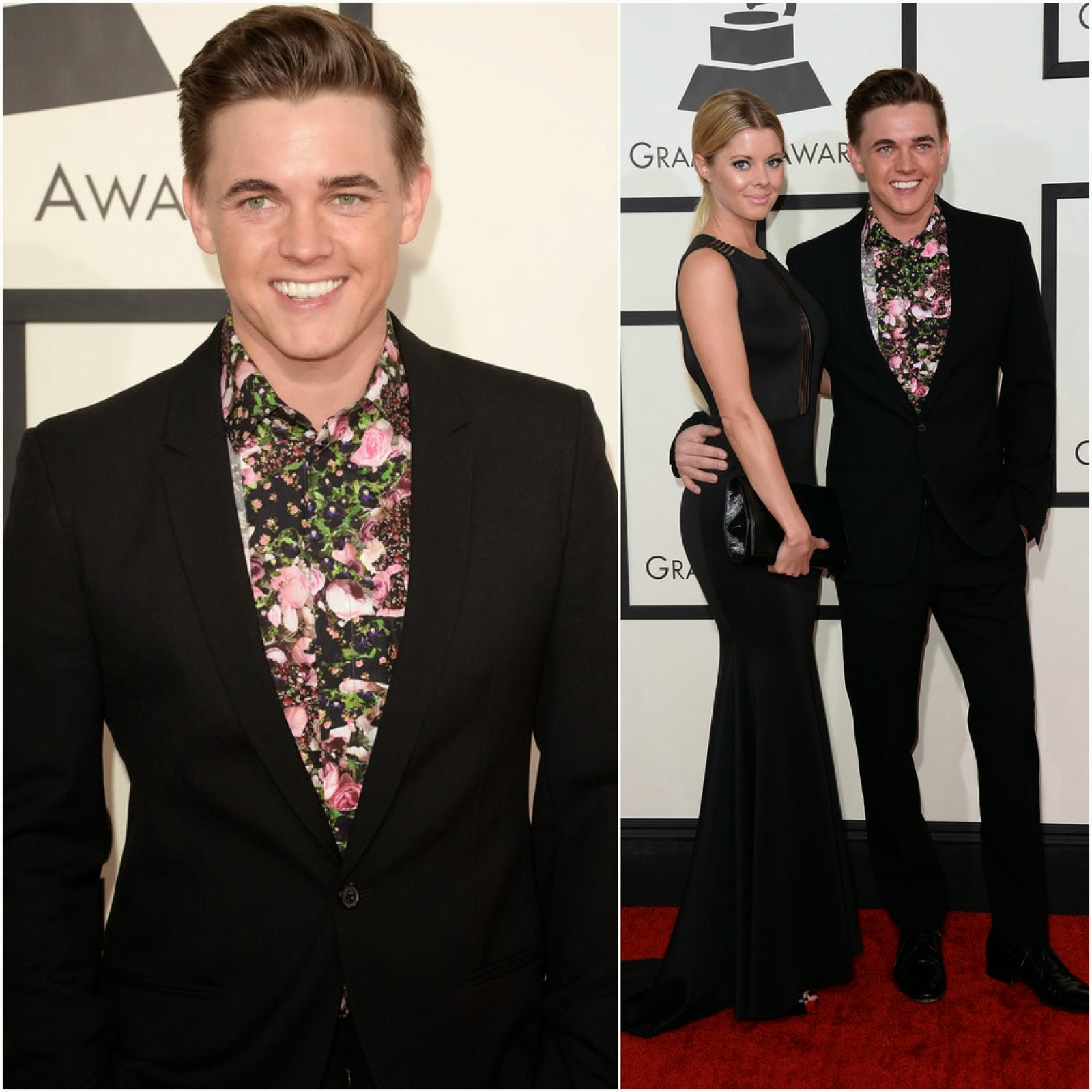 Jesse McCartney's Givenchy Flower Print Shirt - 56th GRAMMY Awards