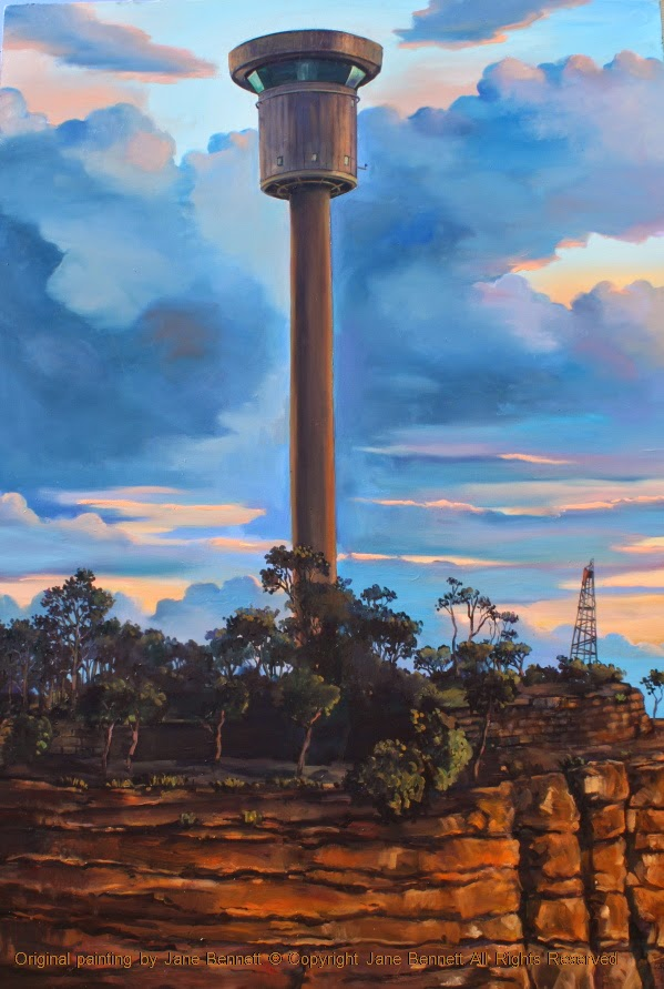 plein air oil painting of the Sydney Harbour Control Tower in Millers Point by Jane Bennett, industrial heritage artist