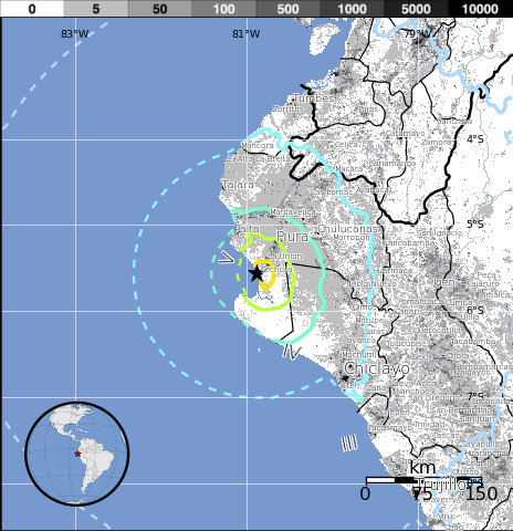 Epicentro sismo Perú, 15 de Marzo 2014