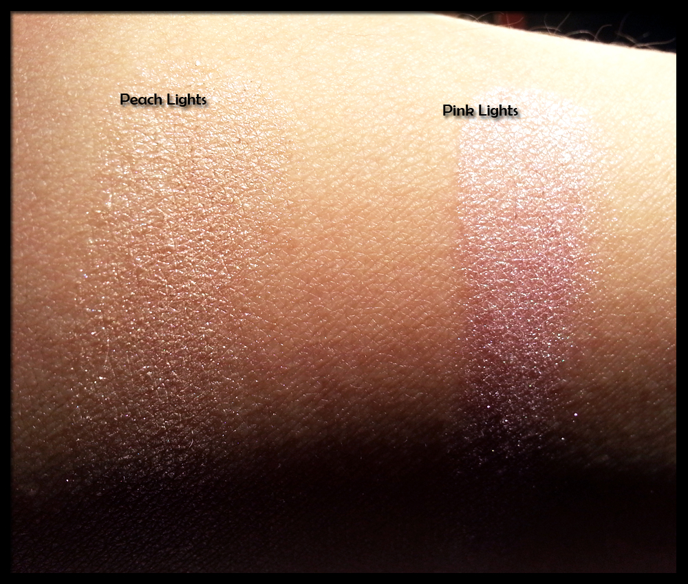 Makeup Revolution - Vivid Baked Highlighter in Peach Lights e Pink Lights - Swatches