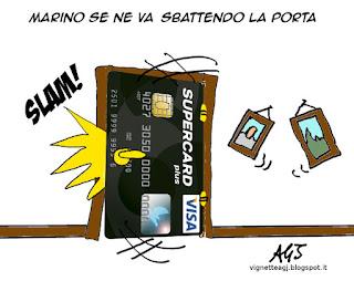 Marino, dimissioni, carta di credito, vignetta satira