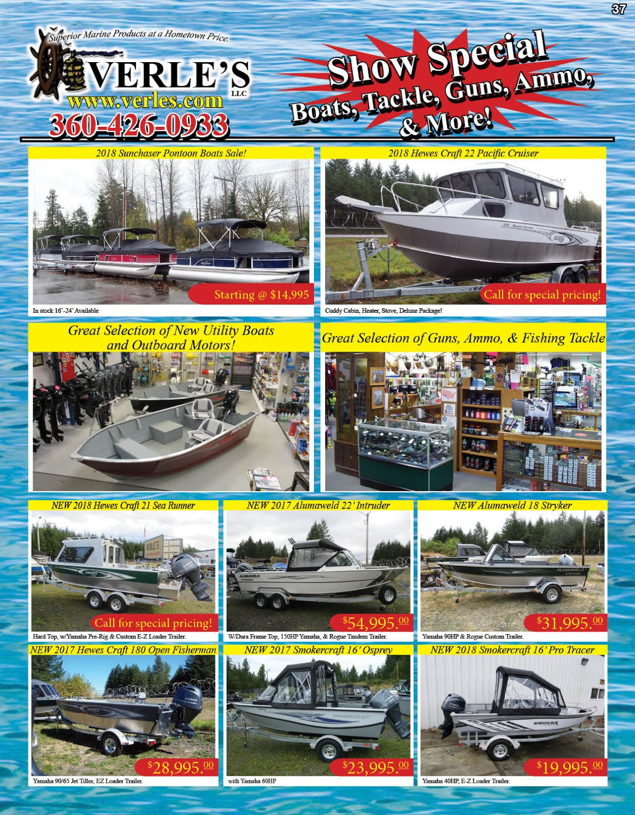 Verles llc. Has Show Specials on Boats & Tackle, Guns & Ammo, More!!