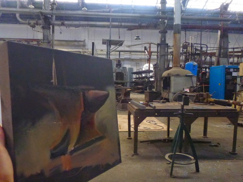 oil painting of anvil in blacksmith's forge, Eveleigh Railway Workshops by industrial heritage artist Jane Bennett