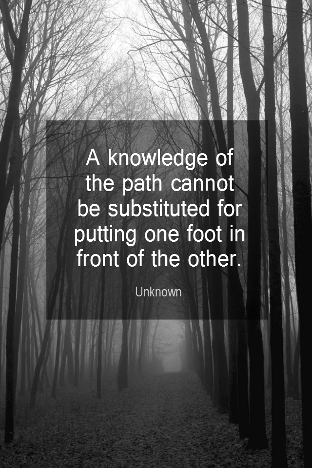 visual quote - image quotation for ACTION - A knowledge of the path cannot be substituted for putting one foot in front of the other. - Unknown