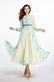 Butterfly Print Long Sleeve Chiffon Maxi