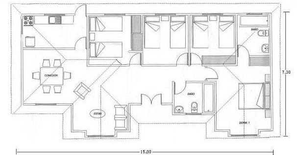 Planos de casas modelos y dise os de casas planos de for Planos de cocinas de 15 metros cuadrados