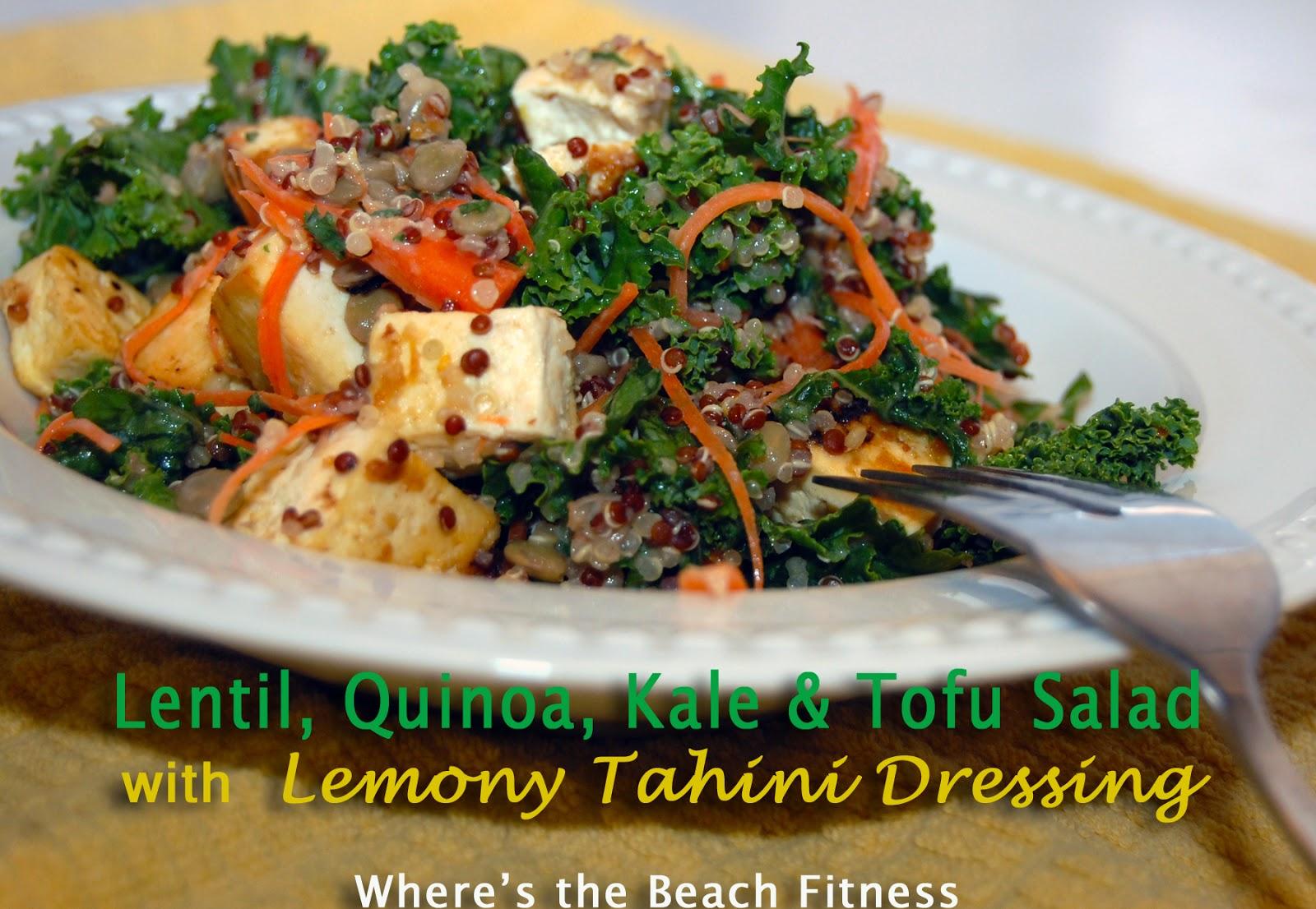 Where's the Beach?: Lentil, Quinoa, Kale & Tofu Salad with Lemony ...