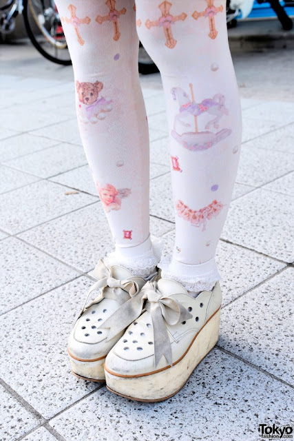pizza-kei cute pizza fairy kei fairy-kei spring trends fashion j-fashion japanese fashion alternative alt-fashion kawaii cult party key pastel 2013 platform shoes tokyo bopper white printed tights
