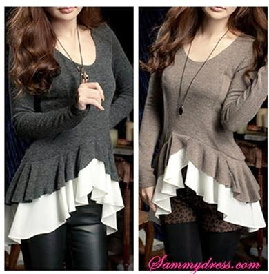 Stylish Irregular Design Blended Blouse