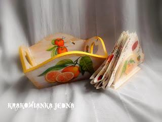 Pomarańczowa taca na owoce i serwetnik
