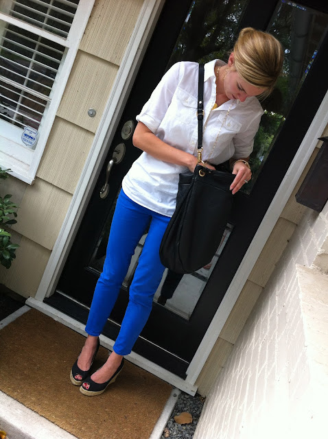 j. crew, toothpick jean, colored jean, style, c style, c. style, black shoes, black purse, micheal kors, steve madden, j. silver, fashion, how to wear colored jeans