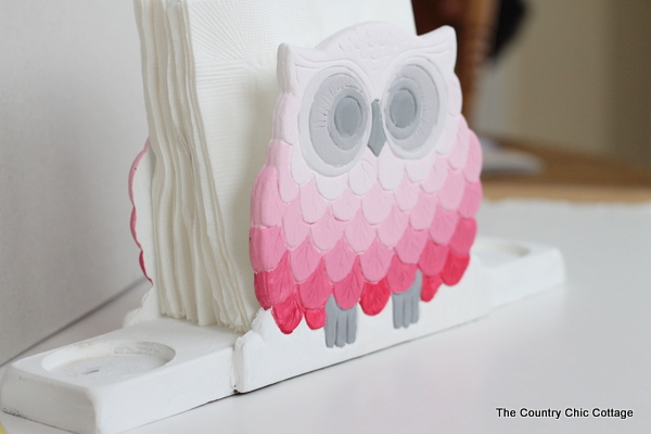 ombre owl napkin holder