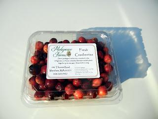 Package of freshly harvested cranberries