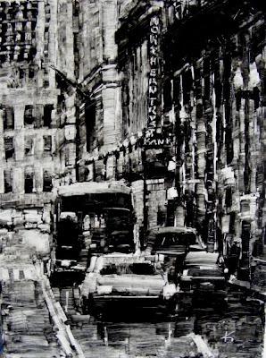 Cityscape painting La Salle St, Chicago.