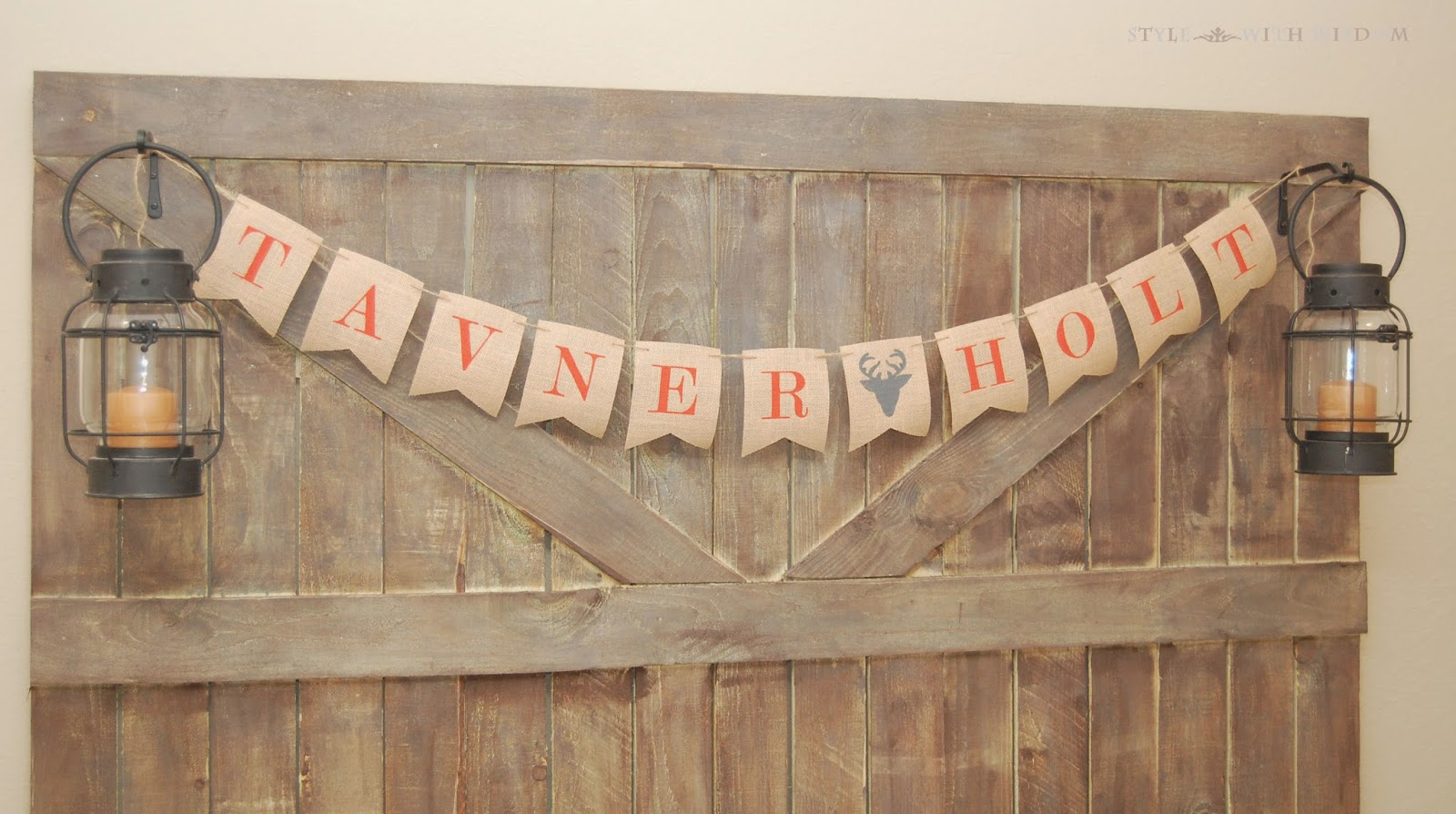 Woodland Nursery barn door and bunting