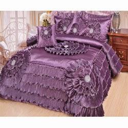 Victorian Satin Comforter Set, Queen, Purple