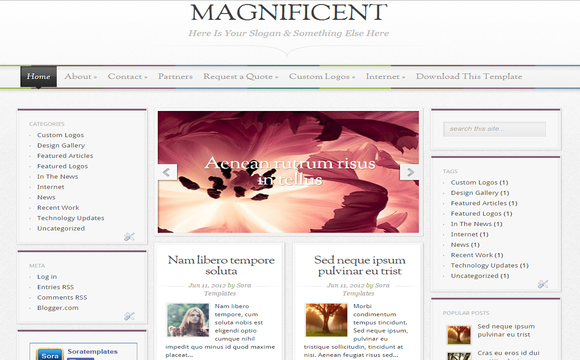 Magnificent Blogger Template | High Quality Free Blogger Templates