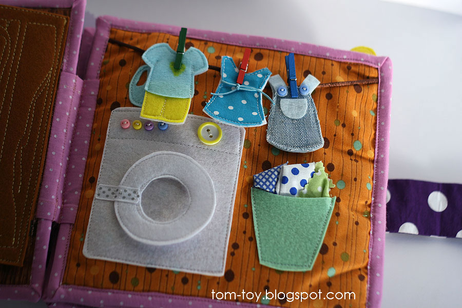 Quiet book for Caitlyn, busy book, gift for children, laundry room, развивающая книжка, стирка, стиральная машина