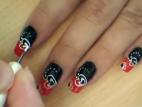 Manikir-obuka-tutorijal-3-(crveno-crni-nail-art-nokti)-009