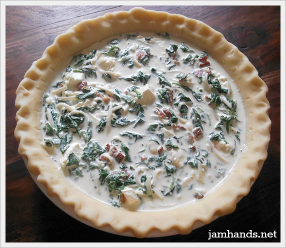 Jam Hands: Spinach, Bacon and Swiss Quiche