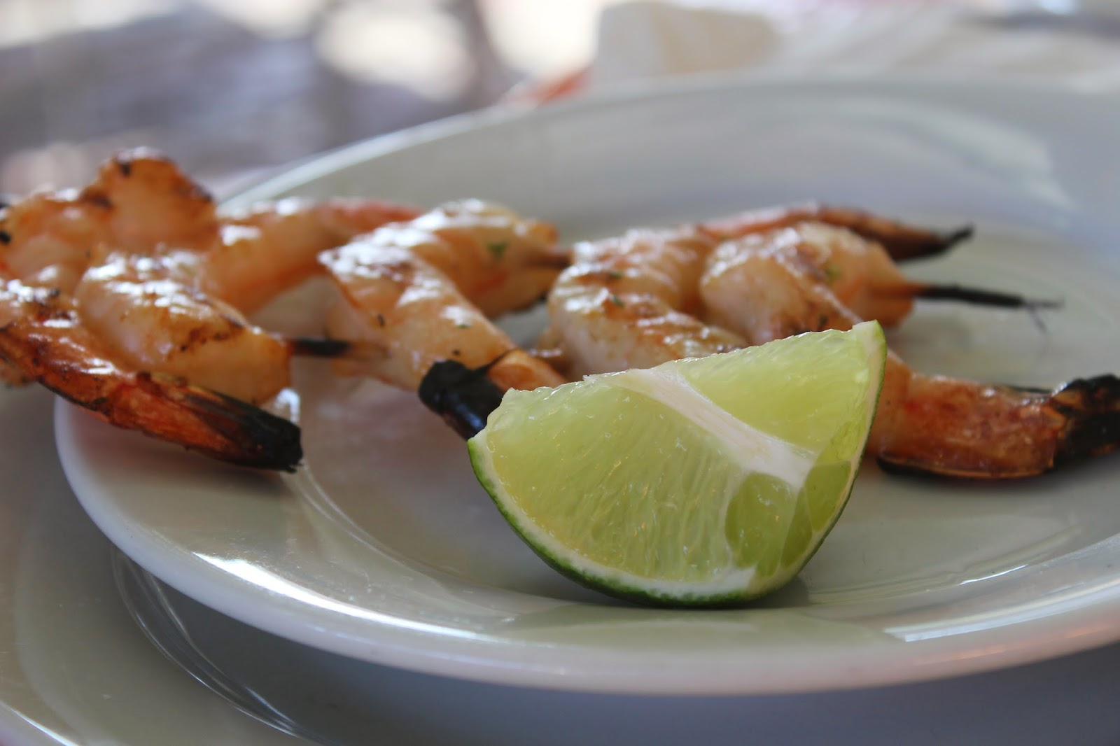 Shrimp on the barbie at Smokey Joe's, Aruba