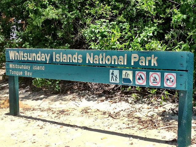 Welcome to Whitsunday Island sign