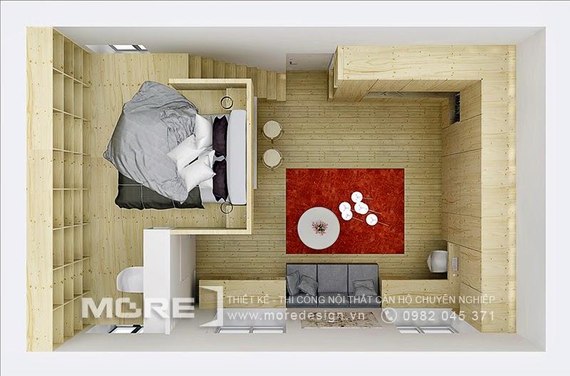 Bố trí nội thất căn hộ 25m2