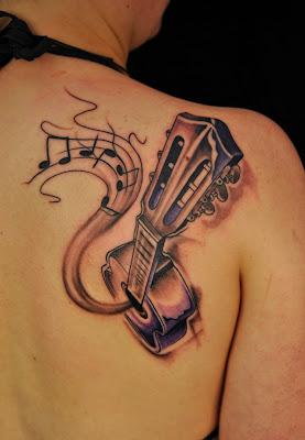 Black and White Guitar Tattoo