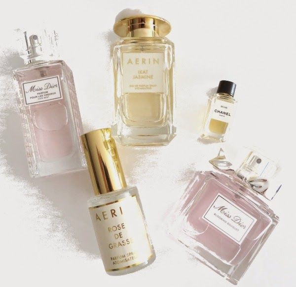 Fragrance faves: Miss Dior Hair Mist and Blooming Bouquet, AERIN Ikat Jasmine and Rose de Grasse, Chanel Beige